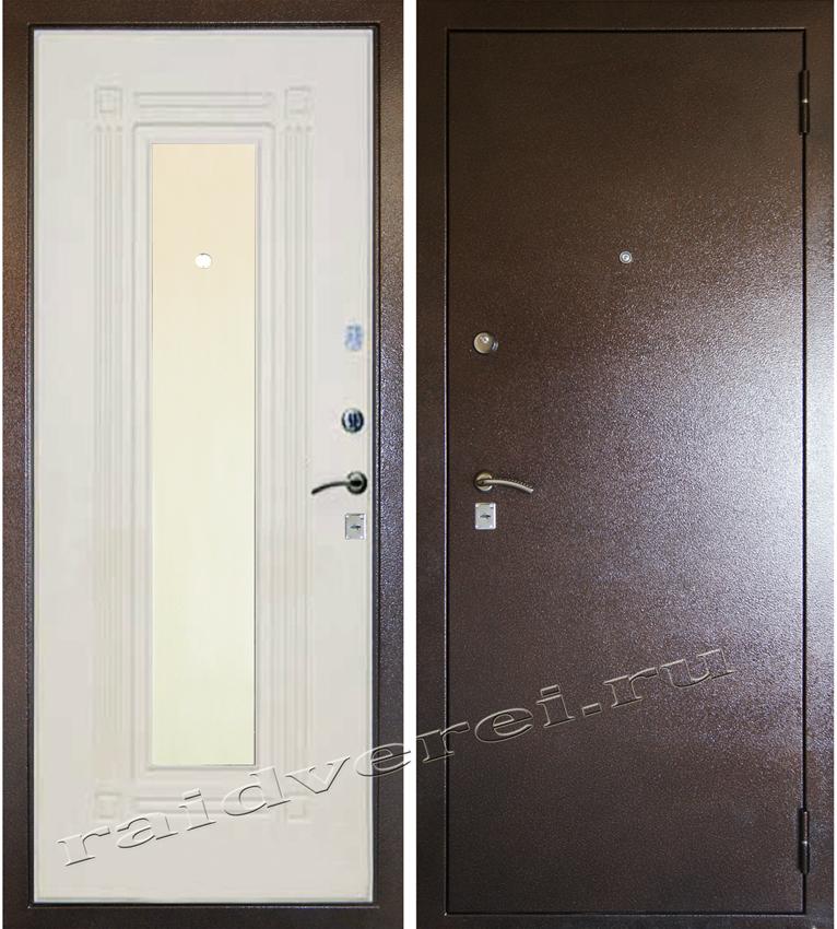 входная дверь А-4 беленый дуб с зекркалом