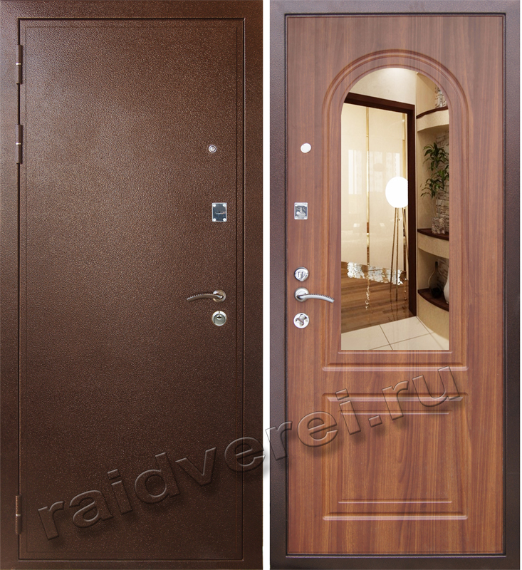 недорогая зеркальная входная дверь