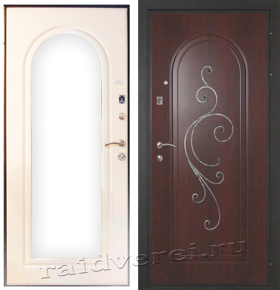 Стальная входная дверь с  зеркалом