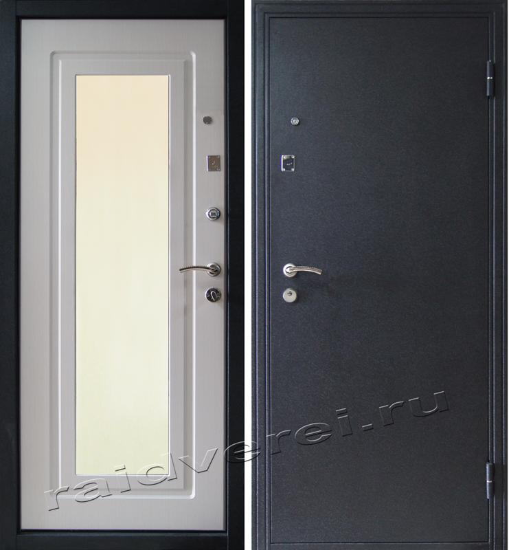 стальные двери с большим зеркалом